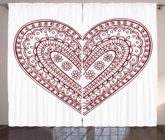 Heart Shape Sixties Swirl Curtain