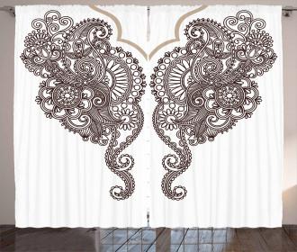 Two Eastern Motifs Art Curtain