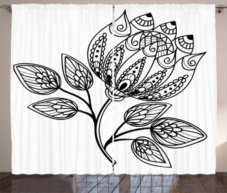 Monochrome Floral Pattern Curtain