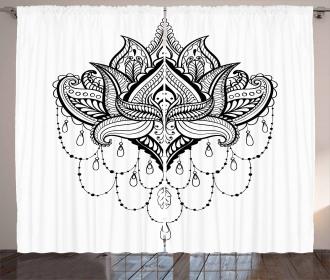 Lotus Flower Asia Culture Curtain
