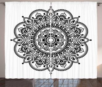 Symmetrical Ethnic Flower Curtain
