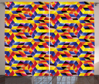 Vibrant Mosaic Forms Curtain