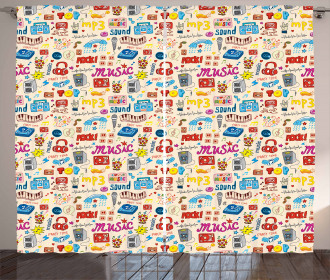 Retro Pop Art Style Icons Curtain