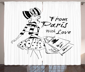 Love Fashion Girl Figure Curtain