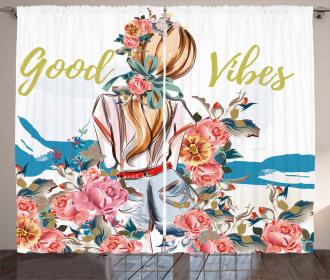 Girl Rose Flourish Curtain