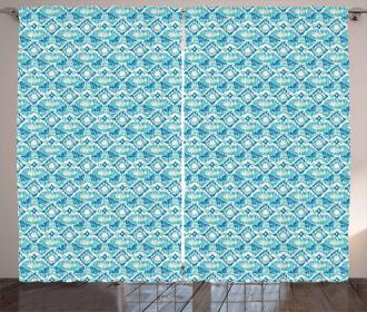 Marine Colors Asian Motif Curtain