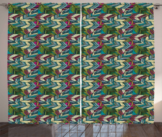 Exotic Feather Pattern Curtain