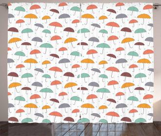 Rain Colorful Umbrellas Curtain