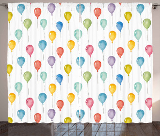 Flying Watercolor Balloons Curtain