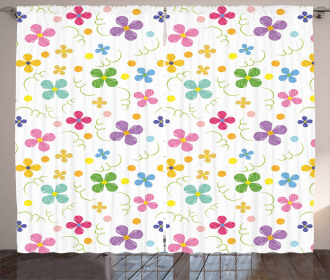 Spring Daisies Dots Sketch Curtain