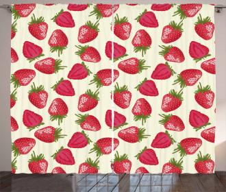 Strawberries Vivid Food Curtain