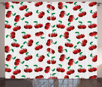 Vibrant Cherries Summer Curtain