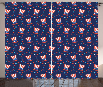 Uncle Sam Hats Independence Curtain