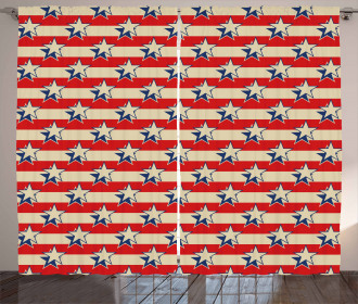 Retro Independence Poster Curtain