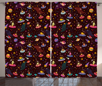 Alien Planets and UFOs Curtain
