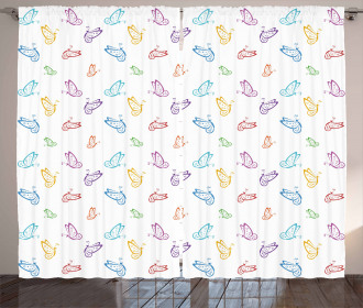 Doodle Style Colorful Curtain