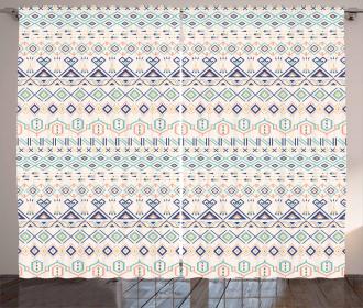 Aztec Motifs Squares Curtain