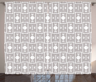 Retro Grid Halftone Curtain