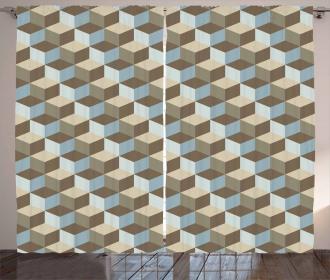 Abstract Cube Art Curtain