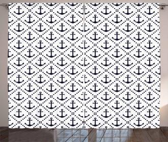 Nautical Anchor Dots Curtain