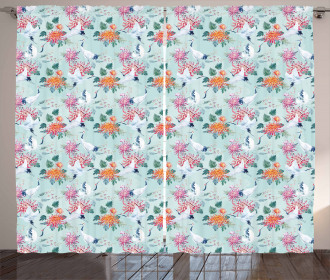 Cranes and Flowers Motif Curtain