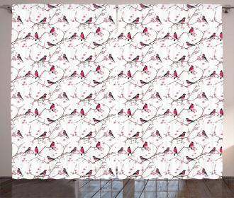 Bullfinch Birds Sakura Curtain