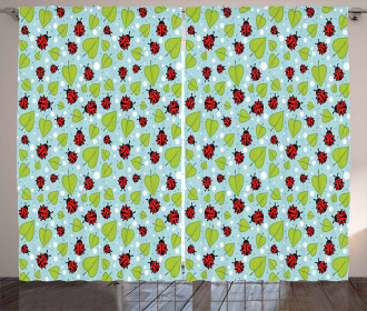 Polka Dots and Beetles Curtain