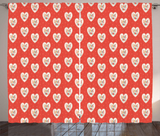 Hipster Hearts Valentines Curtain