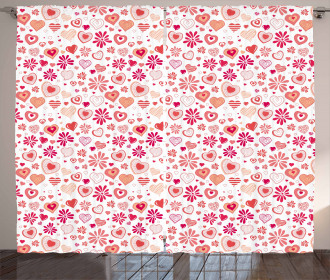 Hearts Flowers Abstract Curtain