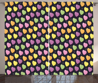 Lively Colors 3D Hearts Curtain