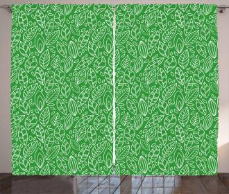 Doodle Leaves Foliage Curtain