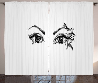 Feather Butterfly Woman Curtain