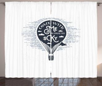 Retro Hot Air Balloon Art Curtain