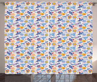 Cats and Fishes Love Games Curtain