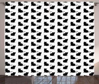 Cute Playful Black Kittens Curtain