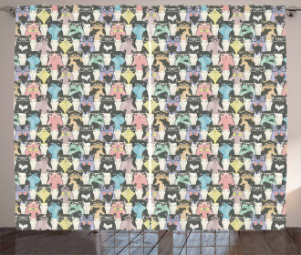 Retro Hipster Bow Ties Curtain