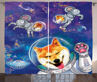 Astronaut Shibas in Space Curtain