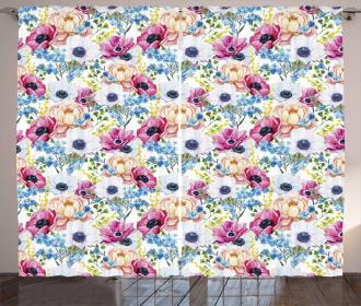 Anemone Flower Art Curtain