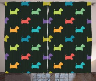 Terrier Silhouettes Curtain