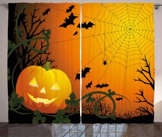 Pumpkin Leaves Bats Curtain
