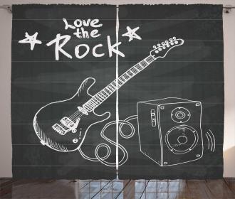 Love Rock Music Sketch Curtain