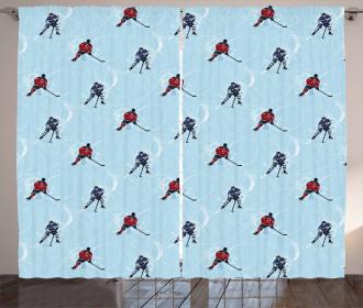 Ice Hockey Pattern Winter Curtain