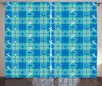 Plaid Pattern Marine Curtain