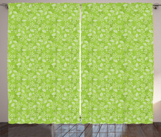 Green Blooming Meadow Curtain