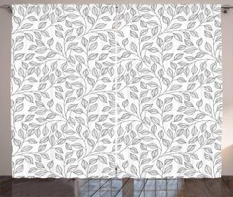 Monochrome Floral Rustic Curtain