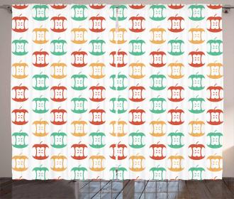 Apple Cores Retro Colors Curtain