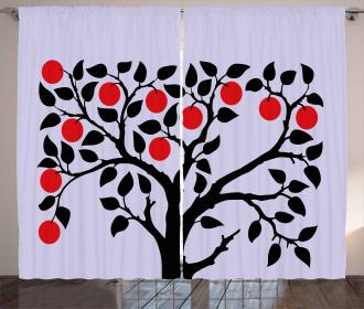 Black Tree Ripe Fruit Art Curtain