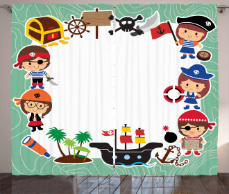 Pirate Children Ship Curtain