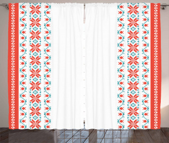 Floral Style Petals Buds Curtain