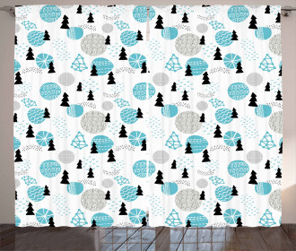 Abstract Tree Ornament Curtain